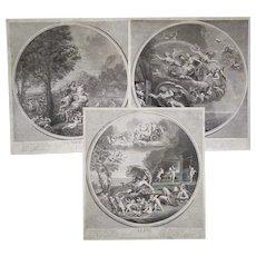 18th c Mythological Engravings : Air Fire Earth