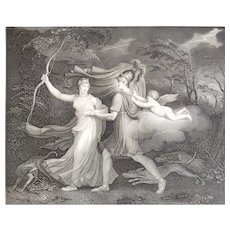 Mythological Engraving 19th Aeneas And Dido Greek Mythology Neoclassic