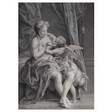 Mythological etching 18th c Venus caressing Love