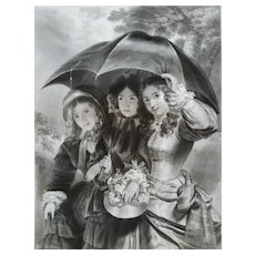 Female Portrait Romantic Etching April Showers  After English Painting By Henry Hall
