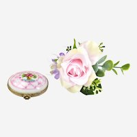 Vintage Pill Box - Porcelain Miniature Trinket Box - Limoges Hand Painted Jewelry Box-1900