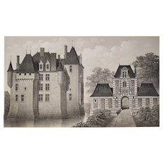 Architecture  French Castle  Avrilly  Lithograph By Victor Petit19th C