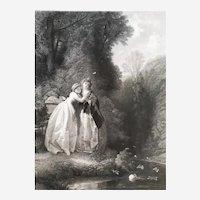 Romantic Engraving 19th Century Portrait Lady The Last Rose After Compte-Calix