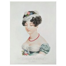 Female Portrait Of Italian Woman, 19th Etching The Beautiful Sicilian Girl Empire period