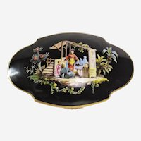 Porcelain Box In Fine Hand-Painted Porcelain Decorated With A Chinese Family 19th C. Jewellery Box