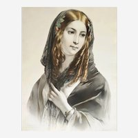 Portrait Of A Spanish Lady Rose Of Séville Lithograph 19th C.