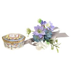 Vintage Pill Box - Porcelain Miniature Trinket Box - Jewelry Box with Hand Painted Floral Decor