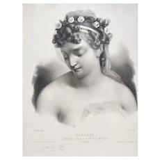 Greek Mythology Portrait Aspasia  Original Lithograph 19th C