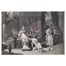 Biblical Scene Aman At Esther's Knees Engraving By Johannot