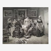 19th Etching Genre Scene Engraved By Paul Legrand After Mme Haudebourt Lescot