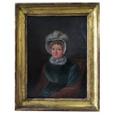 Oil Painting Female Portrait by French painter 19th c