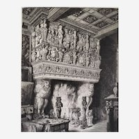 Architecture Etching by Octave De Rochebrune Fireplace Chimney 19th c