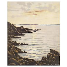 Seascape Brittany In The Setting Sun Etching By French painter Roger De La Corbière Mid century