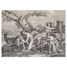 Mythological Engraving After Poussin Amalthée 18th c