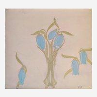 Still Life Original Gouache Painting of Blue Flower  Art Nouveau 1900