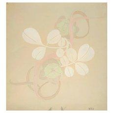 Still Life Art Nouveau Flowers Original Gouache And Pencil