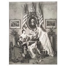 United States of America Washington's Birthday historical photogravure after original oil painting by Charles Baugniet