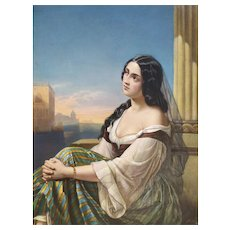 Italian Venetian  Woman 19th Engraving Colored In Watercolor And Gouache Signed