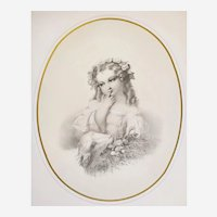 Print 19th C. Lithograph After Hugues Fourau Innocence