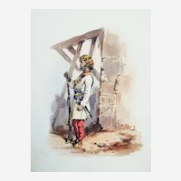 Indian Soldier of the British Army Watercolor Painting by Orlando Norie 19th c