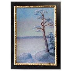 Swedish Painter G. Von Sparrvenfält Winter Landscape  Painting Oil On Canvas