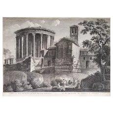 Landscape Architecture Engraving 18th Century Temple Of La Sybille And Tivoli, De La Vesta Italy