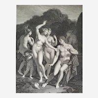 Greek Mythology Original Engraving Judgment Of Paris Engraved By M.Blot After Vanderwerf