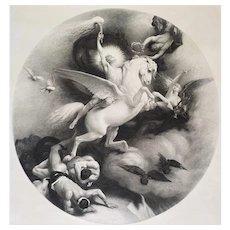 19th Mythological Engraving The Triumph Of Art  Greek Mythology