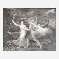 Greek Mythology Original Etching  Aeneas And Dido Neoclassic Mythological Engraving 19th c