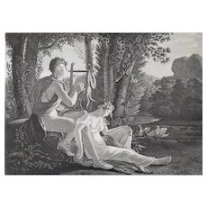 Neoclassical Empire Period 19th c Etching The Origin Of Music By Gudin After Ducis