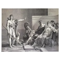 Phèdre And Hippolyte Neoclassical Engraving From The Empire Period 19th c Mythology