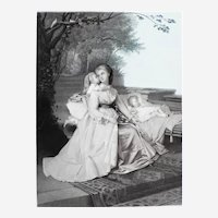 Romantic Engraving 19th C Maternity A Nest Under The Leaves