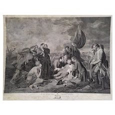 The Death of General Wolfe, engraving 18th century by Woollett Americana