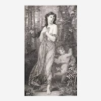 Greek Mythology Nymph 19th c Mythological Etching atter French Antique Oil Painting by Hugues Merle