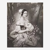 Female Portrait The Gleaner, 19th C  Etching Print After French Oil Painting By Court