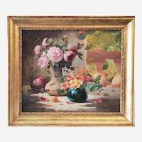 Mid Century Signed Oil Painting Still Life Flowers