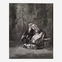 Romantic Etching  The Geography Lesson Lovers After Compt-calix Dated 1872 19th C