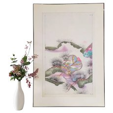 Japanese Drawing Watercolour and Ink Pattern for  Kimono Mid Century Asian Art