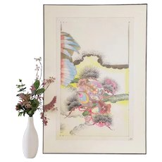 Japanese Art Pattern for  Kimono Japanese Drawing Watercolour and Ink Mid Century Asian Art