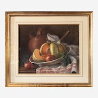 Still Life With Melon And Jug Pastel  Dated 1914 By M. Lelièvre