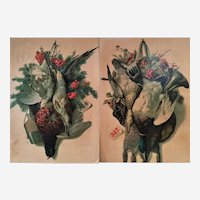 Hunting Trophies Still Life  Chromolithography after Antique Oil Painting  Kitchen Wall Art