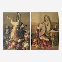 Hunting Art Prints Trophy of Fish and Hunting Still Life Chromolithography 20th c