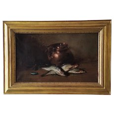 Still Life With Fishes Oil Painting by Ferdinand Wagner 19th Century