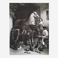 Engraving Horses After Painting By John Herring 19th c