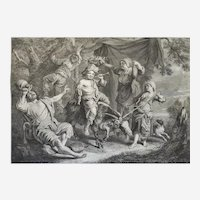 18th c Engraving Bachic Festival After French painter Le Nain