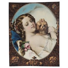 Large  Watercolored lithograph  Portrait Of Woman With A Bichon Dog 19th