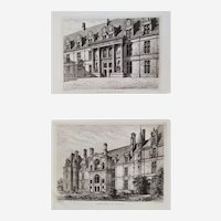 Pair Of Etchings 19th c View Of The French Renaissance Castle Of Ecouen