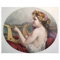 Mythological Lithograph Syren Watercolor Print 19th C
