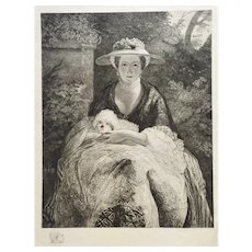 Portrait Of Woman Nelly O'brien With Her Dog  Etching After a painting by Joshua Reynolds 19th C