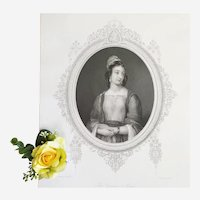 Victorian Female Portrait after Antique English Painting 19th c Etching